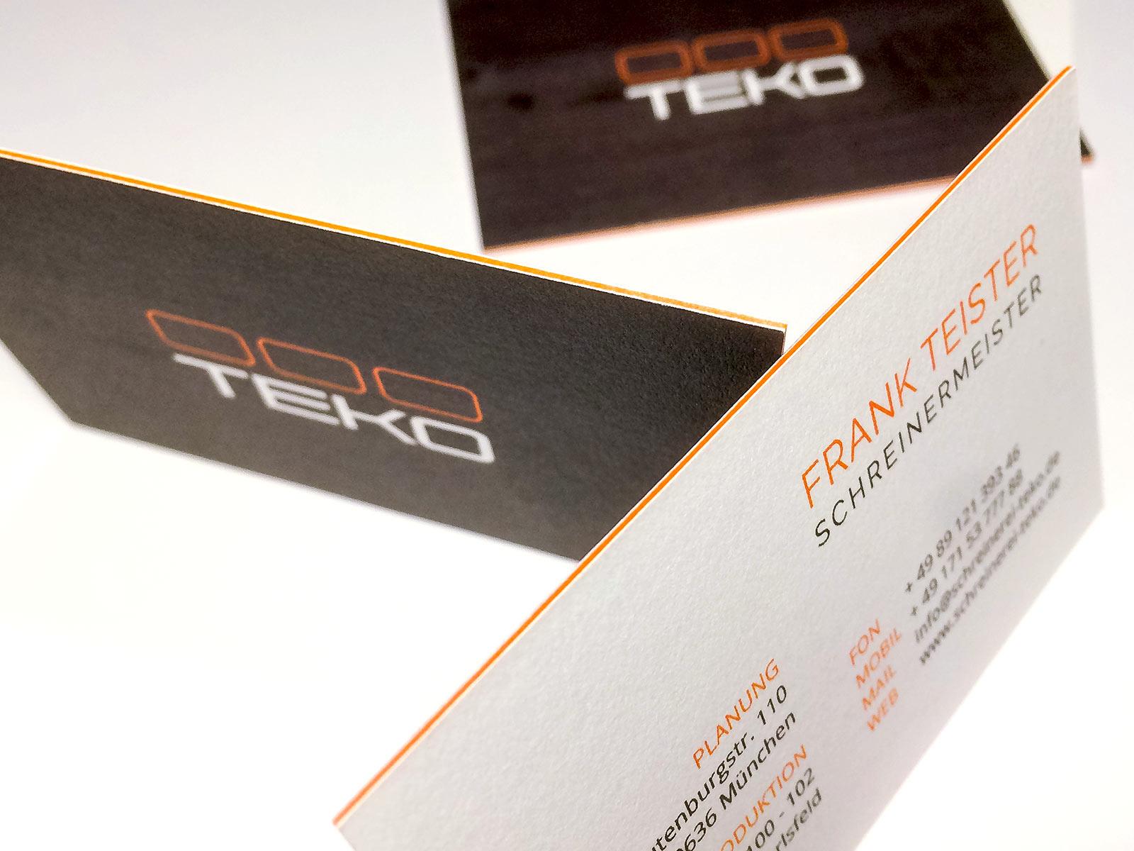 Visitenkarten für die Schreinerei TEKO in Karlsfeld