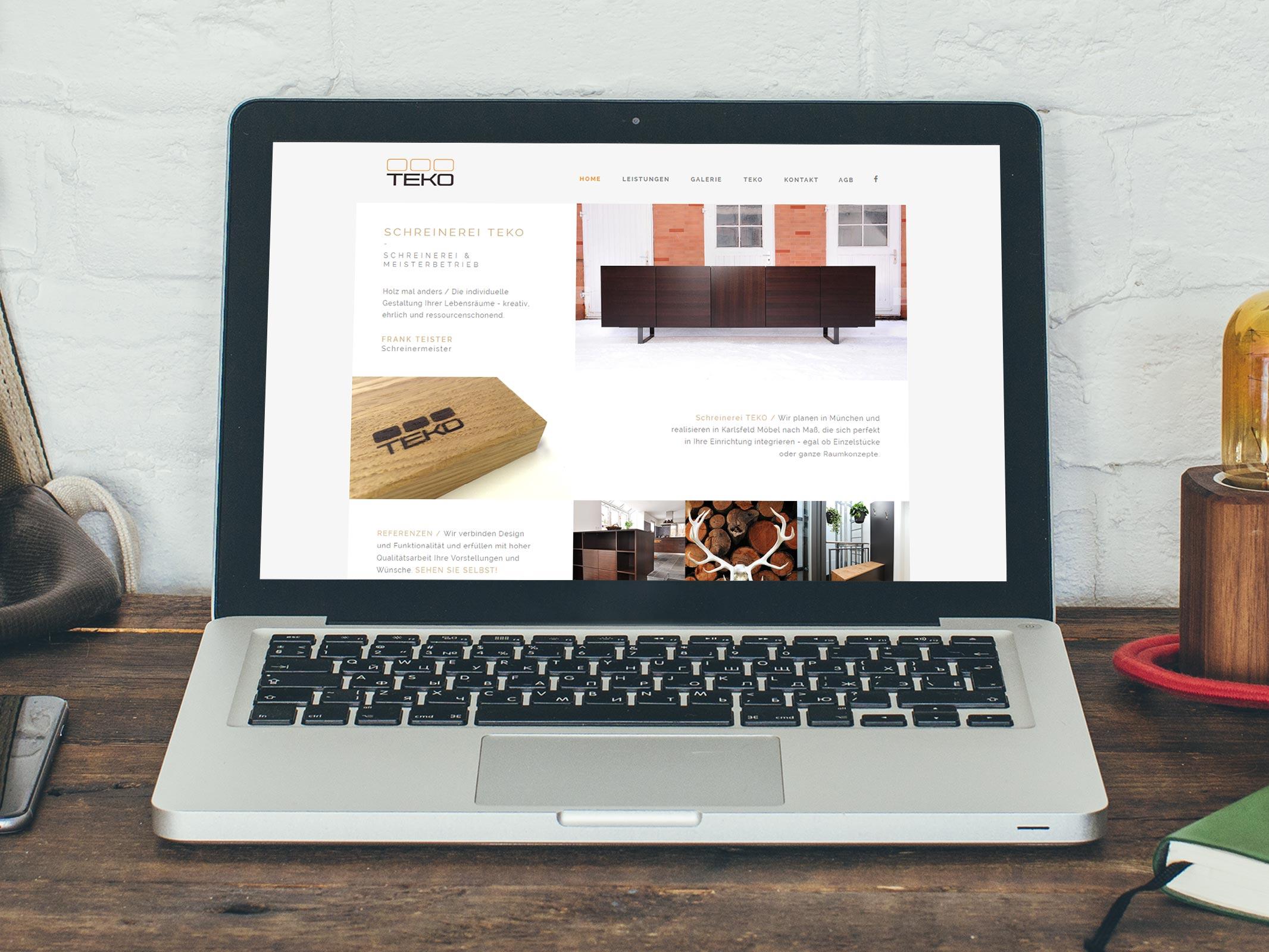 Webdesign für die Schreinerei TEKO in Karlsfeld