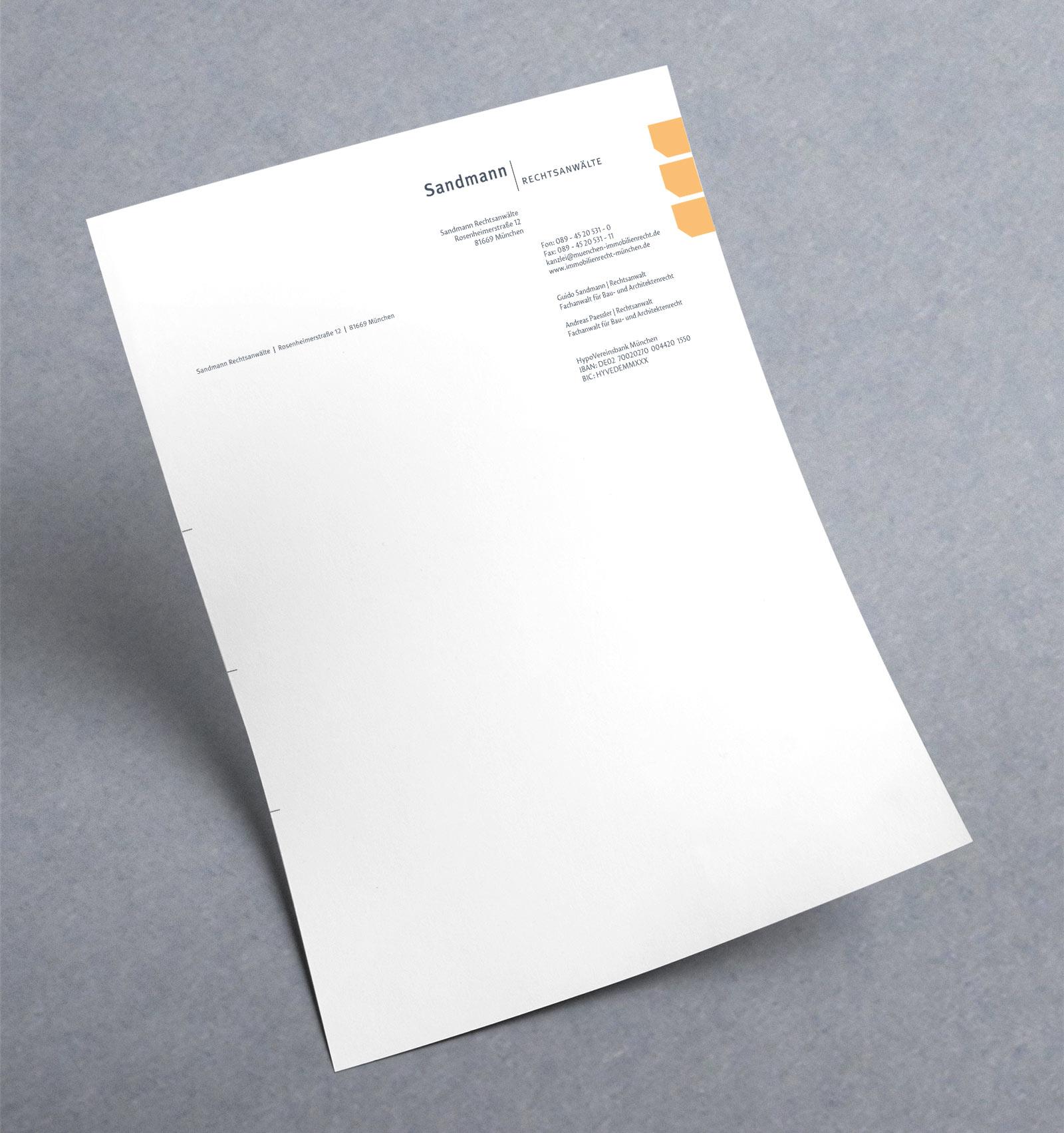 Werbeagentur Dachau - RA Sandmann Briefpapier