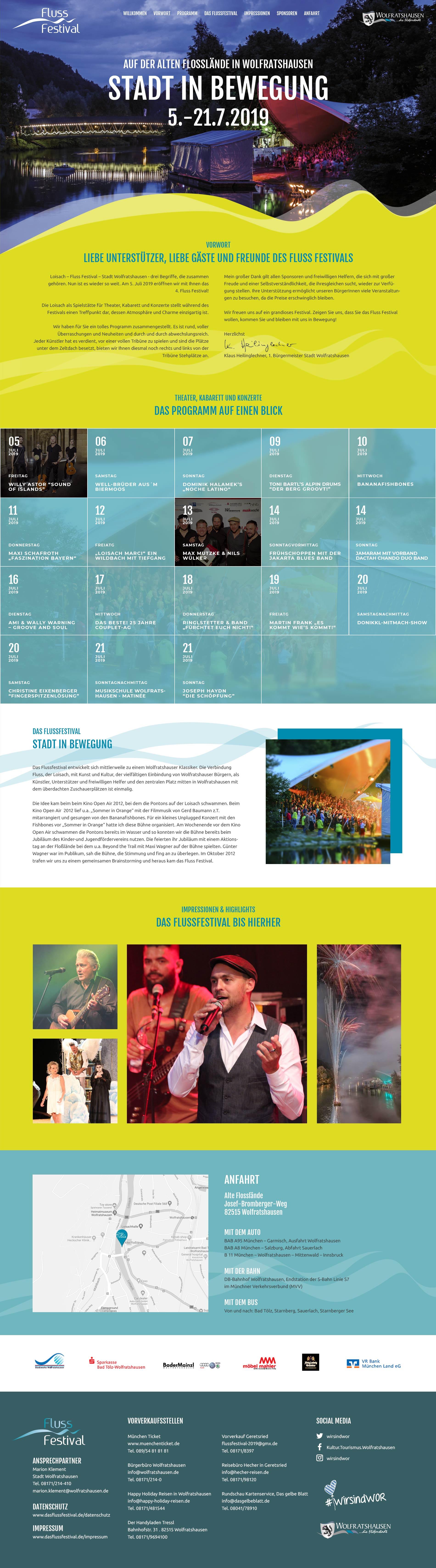 Webdesign Flussfestival Wolfratshausen Startseite