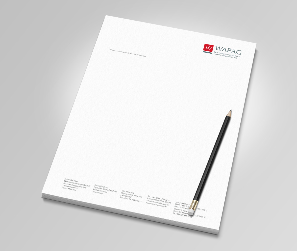 Grafikdesign Dachau . Wapag GmbH . Briefpapier